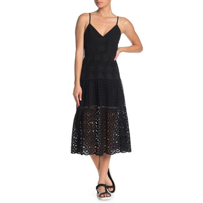 All Saints Janey Eyelet Embroidered Slip Midi Dress S