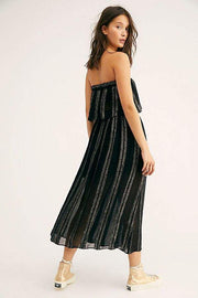 Free People Carmen Lurex Stripe Tube Top & Midi Skirt Set S