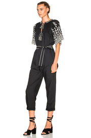 Ulla Johnson Alexi Floral Embroidered Poplin Jumpsuit Black S