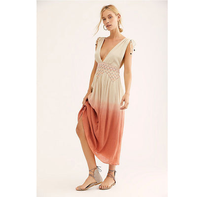 $228 Free People Oasis Sunrise Maxi Dress M