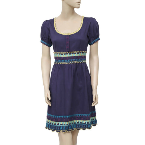 Anthropologie Viola Embroidered Short Sleeve Blue Mini Dress S 6