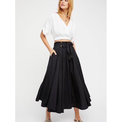 Free People Sunrise Black Maxi Skirt S