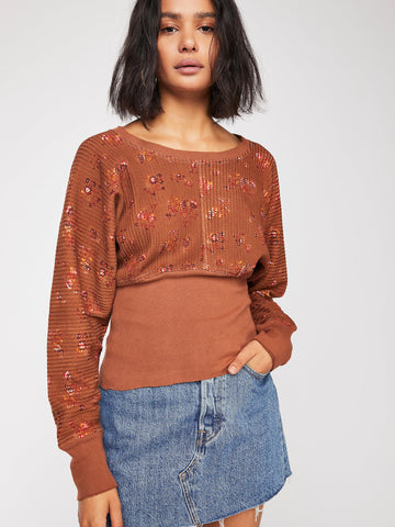 Free People Fp One Printed Remy Thermal Pullover Top XL