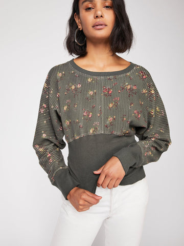 Free People Fp One Printed Remy Thermal Ripped Top S