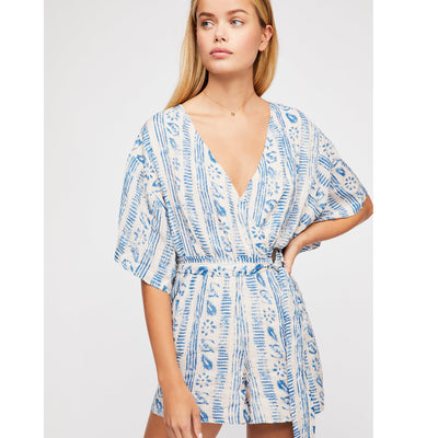 Free People Put A Ring On It Ivory Romper Dress Printed Playsuit Boho S