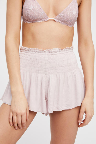 Intimately Free People Lost Girl Smocked Shorts High Waisted Lavender XS