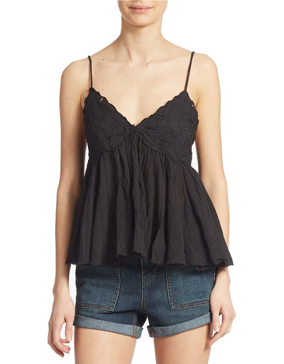 Free People Birds In The Sky Embroidered Black Crop Top M