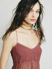 Free People Playin With Pom Poms Cami Crop Blouse Top Purple S