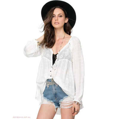 Free People White Lie Tunic Shirt Top XS