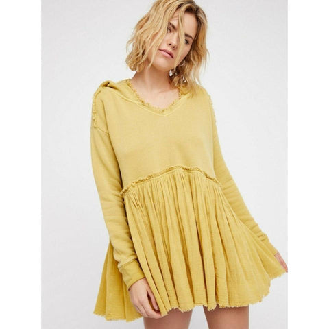Free People Summer Dreams Pullover Hoodie Tunic Top Yellow Oversized M Nw