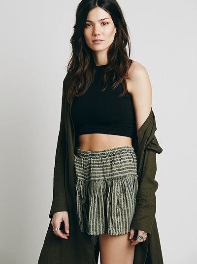 Free People Say It To Me Striped Green Shorts Large L