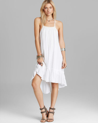 Free People Solid Dress Embroidered White High Low M