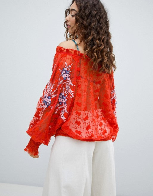 Free People Jubilee Top Floral Embroidered S