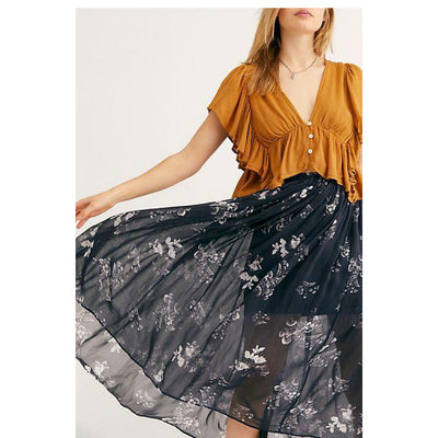 Free People Lydia Midi Skirt Floral Printed High Waisted Black Boho XS