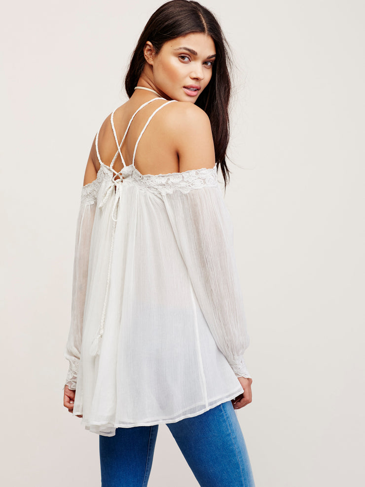 Free People Farrah Chiffon Embroidered Tunic Top M