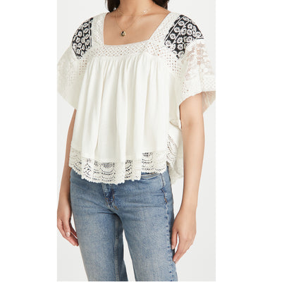 Free People Prairie Days Blouse Top L