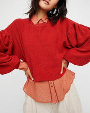 Free People Sleeves Like These Sweatshirt Pullover Cropped Top M