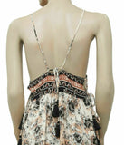 New Free People Casablanca Slip Printed Metallic Tie Back Mini Dress L