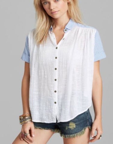 172594 Free People Striped Printed Buttondown Gauze White Blouse Top M