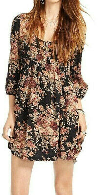 Denim & Supply Ralph Lauren Floral Black Babydoll Dress XS