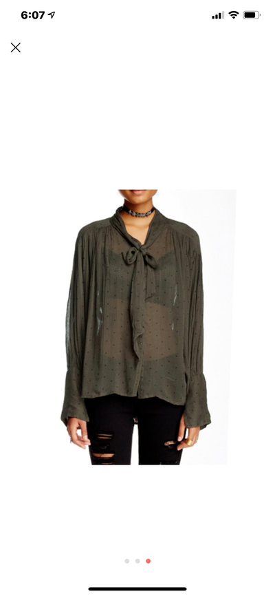 Free People One star point printed Green Blouse Top S