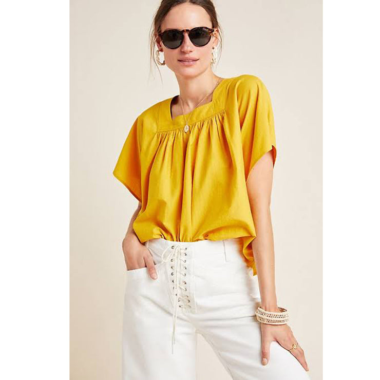 Frye x Anthropologie Marin Yellow Blouse Top Boho Holiday Summer M New