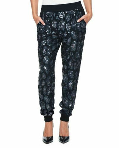 Juicy Couture Leopard Satin Track Pant Embellished Black S New