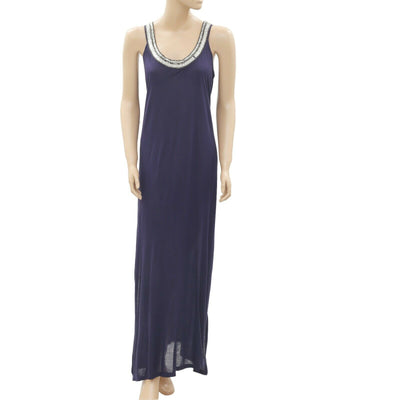 Monsoon Beaded Embellished Cutout Gown Navy Maxi Dress S