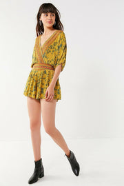 Urban Outfitters Moonstruck Surplice Printed Romper Dress