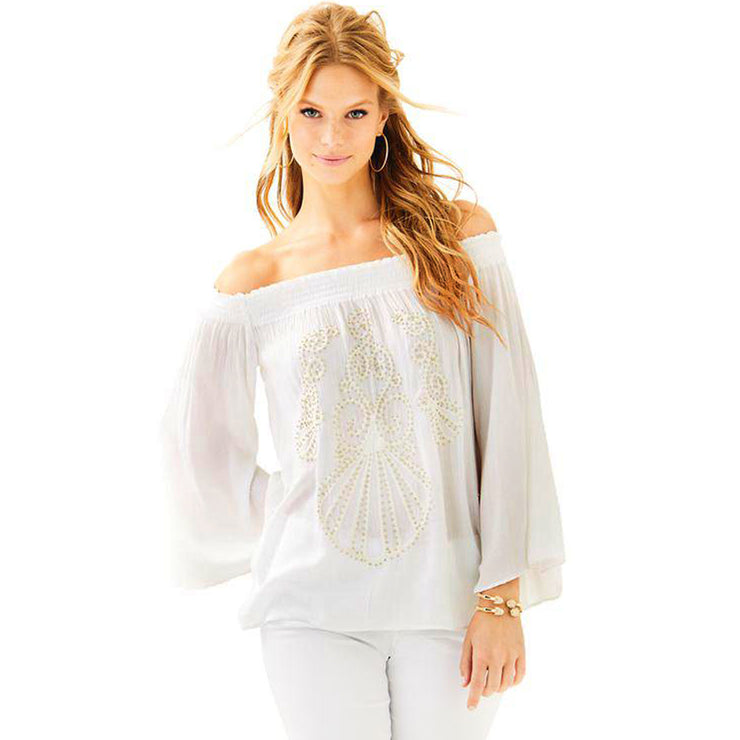 Lilly Pulitzer Nita Off The Shoulder White Blouse Top Smocked Evening S
