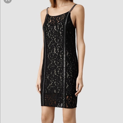 All Saints Asha Chain Black Mini Dress XS