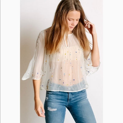Free People Jewel Box Embellished Sheer Blouse Top XS