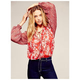Free People Hendrix Floral Print Peasant Long Sleeve Blouse Top S