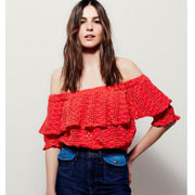 Free People That Girl Off The Shoulder Crop Top Eyelet Embroidered Boho S