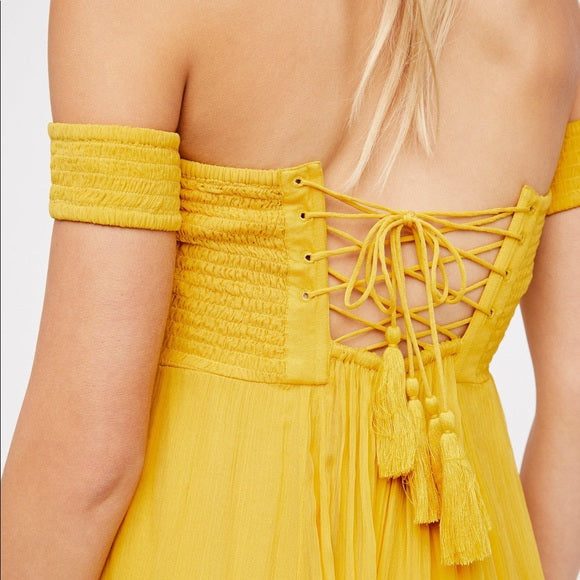 Free People Strawberry Swing Jumpsuit Off Shoulder Smocked Lace Up S