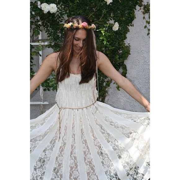 Free People Fp One Hailee Sundress Victorian Lace Dress S