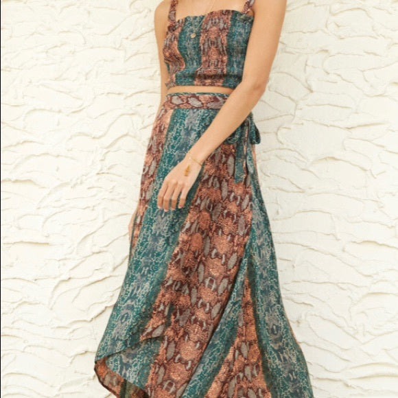 Free People Tropical Date Wrap Midi Skirt S
