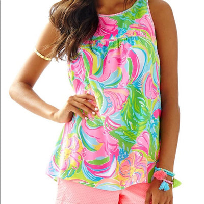 Lilly Pulitzer Flutter Printed Tank Tunic Top S