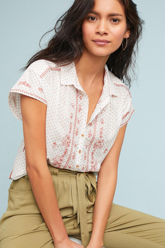 6a8905ad1ca Anthropologie Maeve Riley Embroidered Ivory Tunic Top L – White Chocolate  Couture