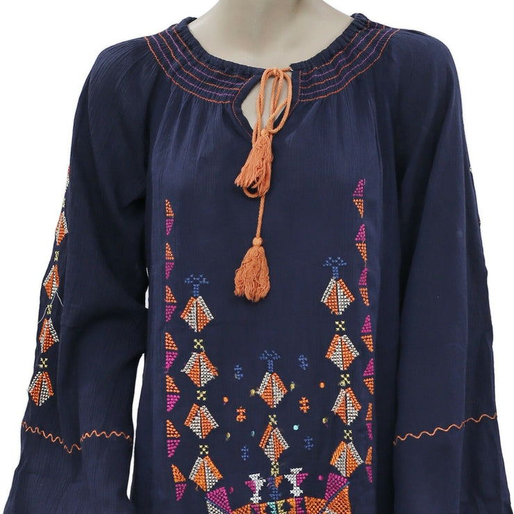 CHELSEA & VIOLET Embroidered Smocked Long Sleeve Navy Dress M