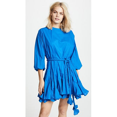 Rhode Resort Ella Mini Dress Flared Puff Sleeve Cotton Blue Summer M