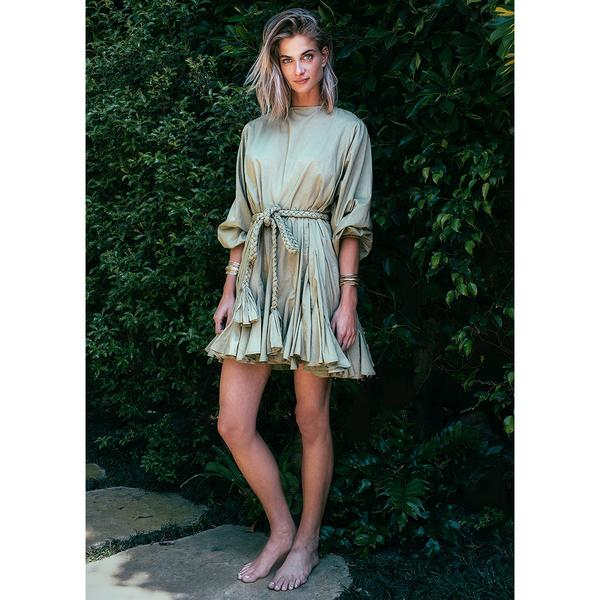 Rhode Resort Ella Olive Green Kimono Mini Dress XS