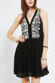 Ecote Babydoll Black Embroidered Dress S