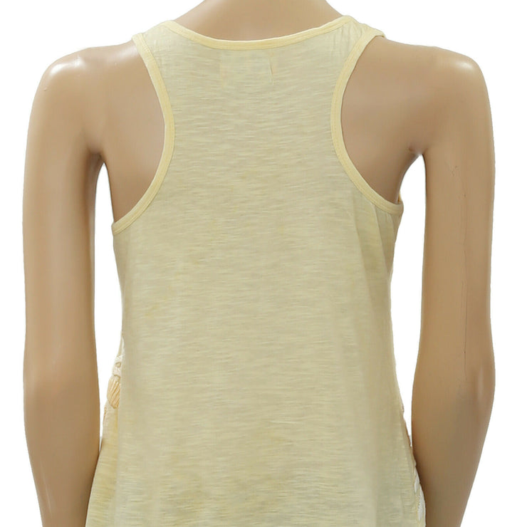 Humming Embroidered Yellow Tunic Blouse Camisole Top XS