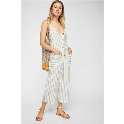 Free People Westminster Striped Jumpsuit Dress M 10