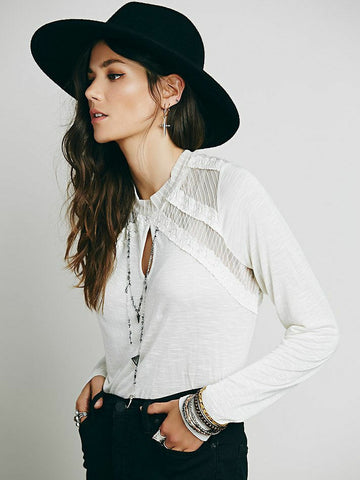 $78 Free People New Romantics Ruby Jane Tee Lace Ivory Blouse Top M