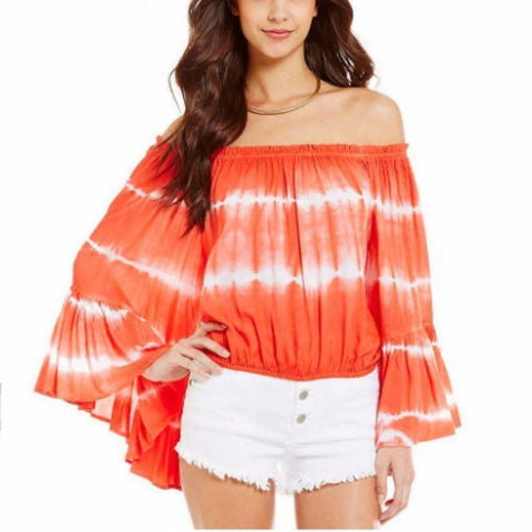 Elan Tangerine Tie & Dye Bell Sleeves Off Shoulder Blouse Top Medium M