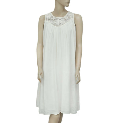 Zara Basic Floral Crochet Sleeveless Ivory Tunic Dress Medium M