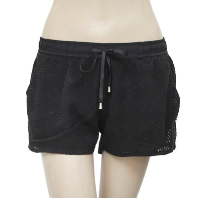 ROXY Embroidered Tie Knot Pocket Casual Black Mini Shorts Small S