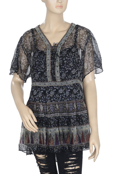 Torrid Printed Lace Up Flutter Sleeve High Low Sheer Tunic Top M 2